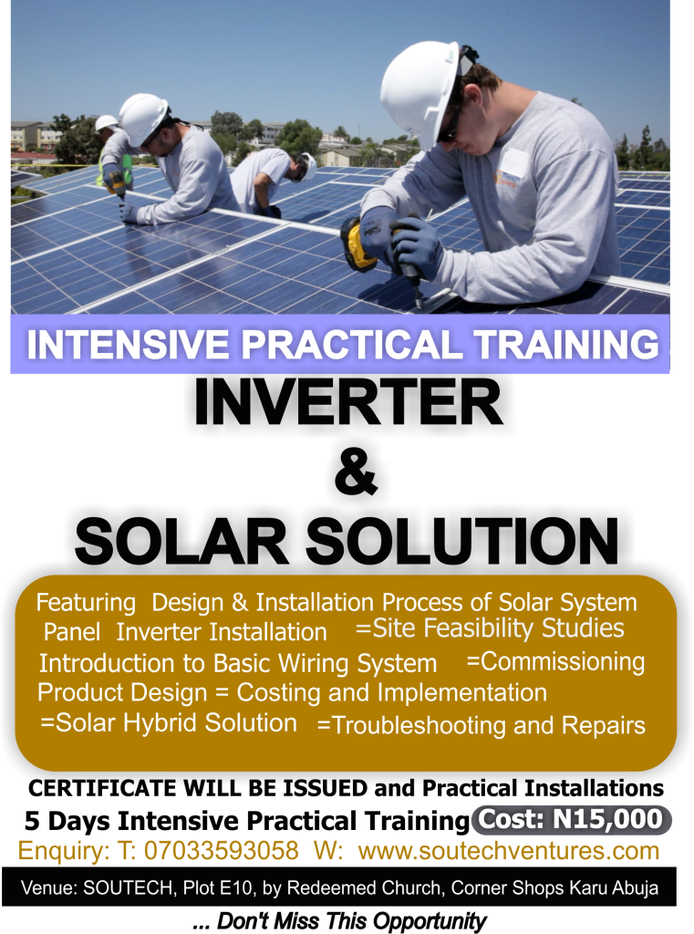 INVERTER AND SOLAR TRAINING Flier in Karu Abuja- SOUTECH VENTURES