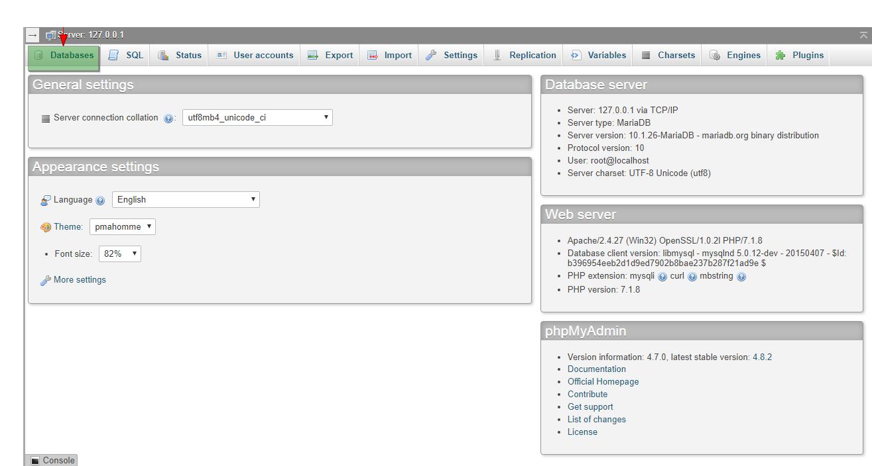 how to create database on phpmyadmin 1